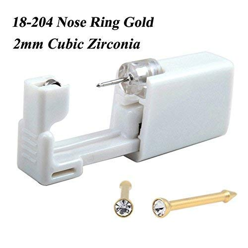 (Nose Piercing Kit/Nose Piercing Gun (Nose Gold White))