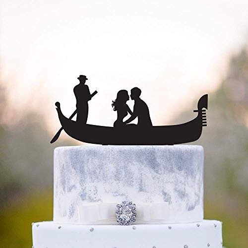SUNsing Gondola/Venice/Italian Bride and Groom Wedding Cake Topper, Romantic Silhouette Cake Topper,Couple Kissing Wedding Cake Topper 861283