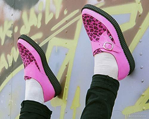 Léopard Femmes Pu Pointu k u Shoes Moine Rose amp; Boucle Impression T Creeper qXfztxBwnn
