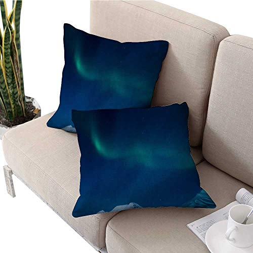 Square Euro Sham Cushion Cover Polar Northern Lights in The Mountains of Svalbard Longyearbyen Spitsbergen Norway Wallpaper Pillow Covers W 20