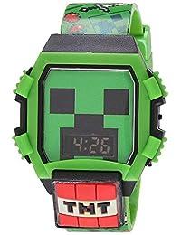 Minecraft MIN4052AZ - Reloj de cuarzo para niño con correa de goma, color verde, 24 (modelo: MIN4052AZ)