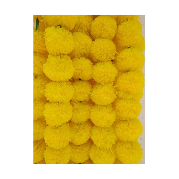Decoration Craft Pack of 5 Artificial Yellow Marigold Flower Garlands 5 Feet Long, for Parties, Indian Weddings, Indian Theme Decorations, Home Decoration, Photo Prop, Diwali, Indian Festival