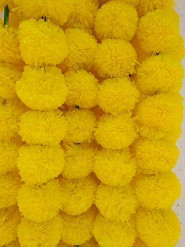Decoration Craft Pack of 5 Artificial Yellow Marigold Flower Garlands 5 Feet Long, for Parties, Indian Weddings, Indian Theme Decorations, Home Decoration, Photo Prop, Diwali, Indian ()