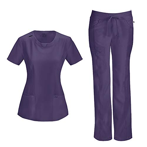 Cherokee Infinity Women's with Certainty Round Neck Top 2624A & Low Rise Drawstring Pant 1123A Scrub Set (Antimicrobial) (Grape - XX-Large/XXX-Large)