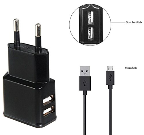BlackBerry-Priv-Compatible-Fast-Adaptive-Charger-Wall-Charger-Travel-Charger-Mobile-Charger-Charger-Dual-USB-Port-With-1-M-meter-USB-cable-2-Ampere-Genuine-Output-Black