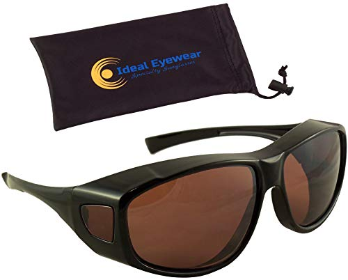 Sun Shield Fit Over Sunglasses with Blue Blocker HD Driving Lens - Wear Over Prescription Glasses (Large, Black Frame with Case)