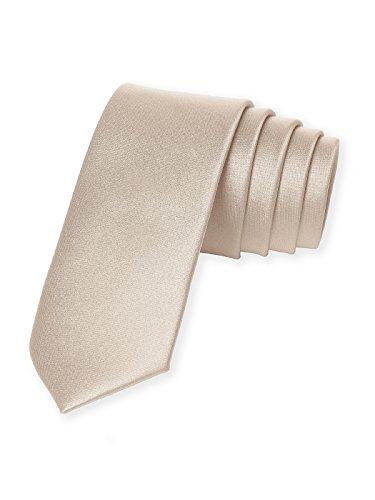Men's Custom Matte Satin Skinny Ties by Dessy - (Silk Cameo)