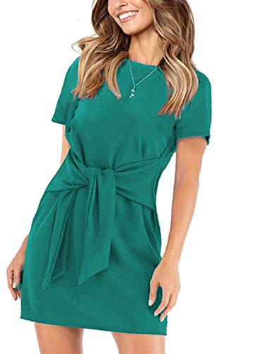 (onlypuff Blue Casual Summer Dresses for Women Short Sleeve Tunic Shirt Tie Front Belted Solid L)