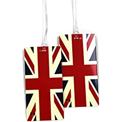 UK Flag Luggage Tag Set - 2 pc With Large Vintage Artistic Designs by 11:11