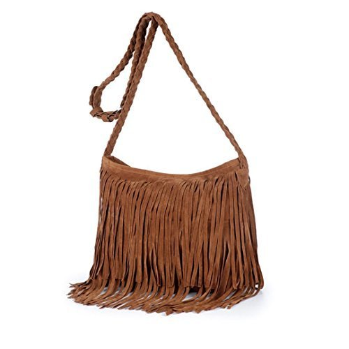 Ships From US- AiSi Womens Hippie Fringe Cowgirl Tassel Faux Suede Shoulder Messenger Cross Body Tote Handbag
