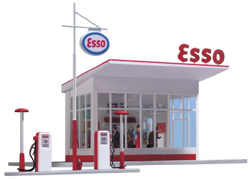 (Busch 1005 Gas Station 1950s ESSO HO Scale Building Kit )