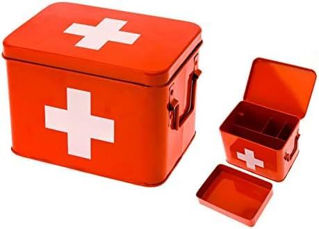 Present Time Medicine Storage Box Metal Red with White Cross - Medium