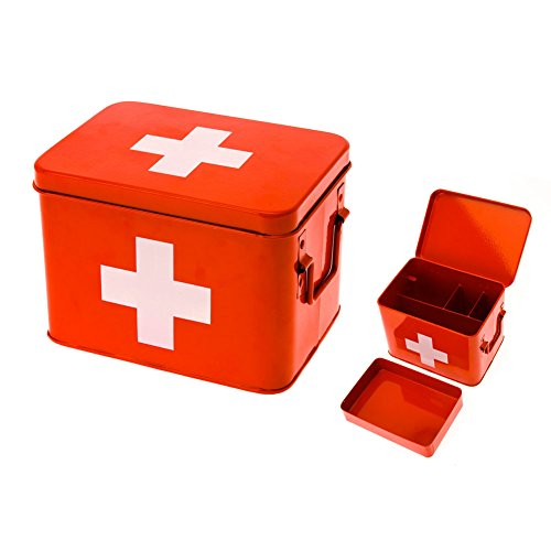 (Present Time Red with White Cross Metal Medicine Storage Box, Medium)