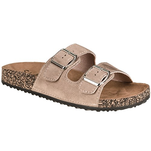 CLOVERLY Comfort Low Easy Slip On Sandal - Casual Cork Footbed Platform Sandal Flat - Trendy Open Toe Slide Sandal Shoes (8.5 M US, Taupe Suede) ()