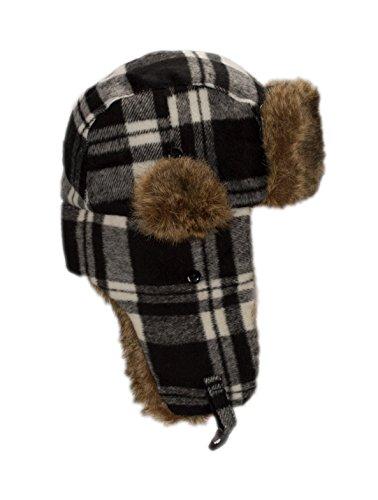 Buffalo Plaid Winter Trapper Hat Boys, Cute Fur Bomber Hats for Little Kids