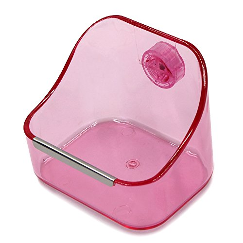 MoMaek Small Animal Supplies Plastic Pet Rabbit/Guinea Pig/Galesaur/Hamster Grass/Food/Water Double Use Container/Feeder/Bowl/Dish (Light pink)