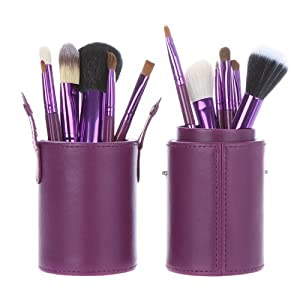 Davidsonne New 12pcs Professional Wooden Handle Makeup Brush Set Cosmetic Brush Kit Makeup Tool with Cup Leather Holder Case (Purple) by Davidsonne