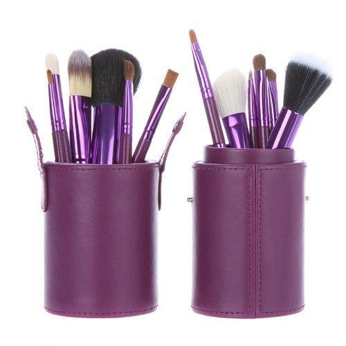 ست 12 تایی قلموهای لوکس آرایش حرفه ای DRQ- در کیف آرایشی چرم وگان-کیت قلموهای با کیفیت ساخته شده از موی طبیعی برای زدن سایه،خط چشم و ابرو،رژلب ،رژگونه ،پودر وکانسیلر  (رنگ بنفش) |