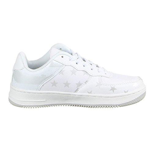 Ital-DesignSCHNÜRER SNEAKERS HALBSCHUH - zapatilla baja Mujer Blanco - Weiß Silber