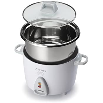 Aroma Simply Stainless 3-Cup(Uncooked) to 6-Cup (Cooked) Rice Cooker, White