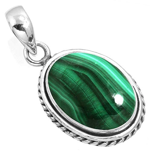 Natural Malachite Women Jewelry 925 Sterling Silver Pendant