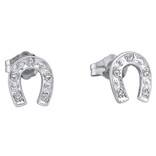 Ladies Diamond Ring Horseshoe (Jewels By Lux Sterling Silver Womens Round Diamond Lucky Horseshoe Screwback Earrings 1/20 Cttw In Prong Setting (I2-I3 clarity; J-K color))