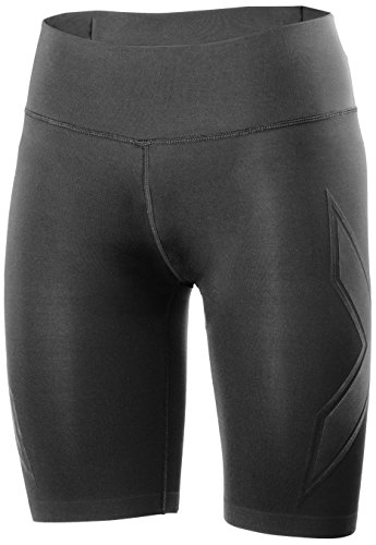 2XU Women's XTRM Compression Shorts, Large, Black/Scarlet by 2XU