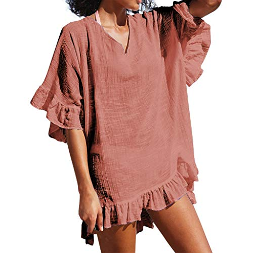 HYIRI Beach Chiffon Sexy Swimsuit,Women's V-Neck Bathing Suit Smock Summer Dress Orange ()
