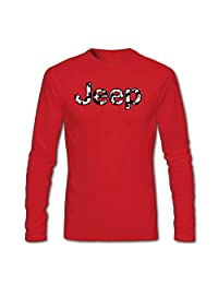 Jeep Camo Logo for Men Printed Long Sleeve Cotton T-shirt