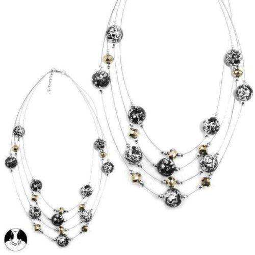Collier Tour de Cou Souple en Perles Marbrées - 4 Rangs - Bijoux Fantaisie Femme
