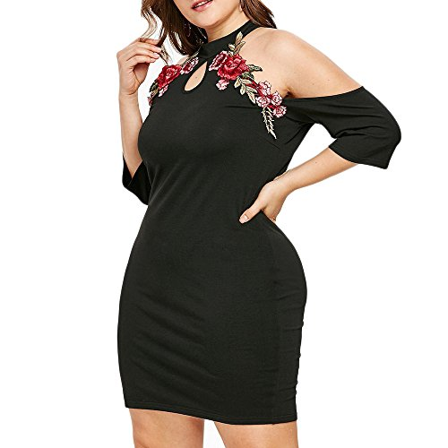 Taglie Estate Rosa Mini Nero Abiti Spiaggia Forti Cocktail Veste Donna Gonna Vestito Abito Nuda Corta Dress Ricamo Spalla Elegante Donna Festa Weant ZPq8A8S