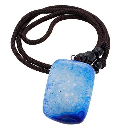 SUNYIK Rectangle Blue Agate Pendant Necklaces for Women, Healing Crystal Point Necklace ()