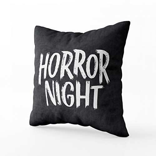 GROOTEY Square Pillowcase with Zip for Easter Couch Sofa Décor Phrase Happy Halloween Modern Stylish Horror Boo Banner Background Party Night 20X20Inch Throw Pillow Covers Cushion ()