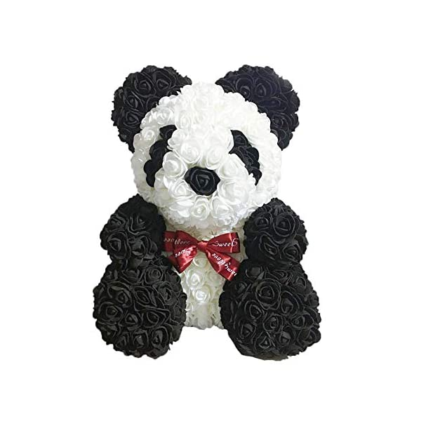 Rose Panda - Artificial Rose Teddy Bear Cub, Forever Rose Everlasting Flower for Window Display, Anniversary Christmas Valentines Gift