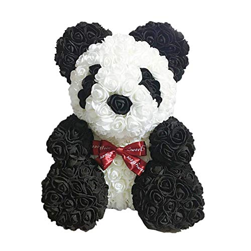 - Rose Panda - Artificial Rose Teddy Bear Cub, Forever Rose Everlasting Flower for Window Display, Anniversary Christmas Valentines Gift