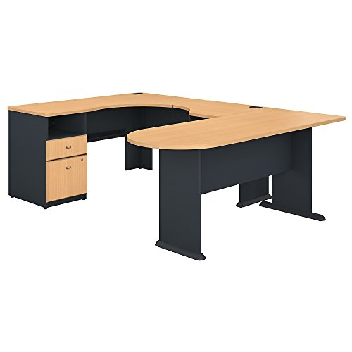 Bush Business Furniture Series A U Shaped Corner Desk with Peninsula and Storage - Beech/Slate 71W X 92D X 30H ERGONOMICHOME BUSH BUSINESS FURNITURE Scroll Down for Product Description