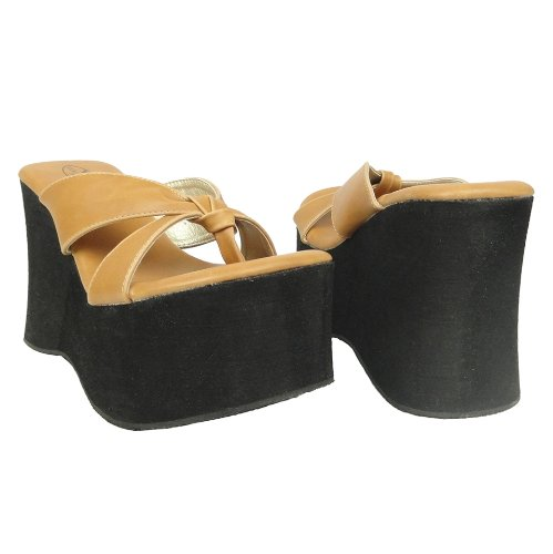 Generation Y Causal Platform Wedge Sky High Thong Sandals Women US Size 5