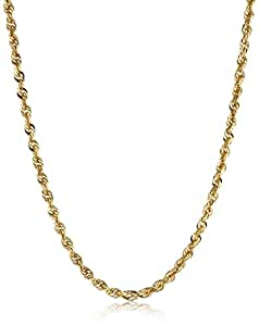 Men's 10k Yellow Gold 4.0mm Solid Diamond-Cut Rope Chain Necklace, 20""