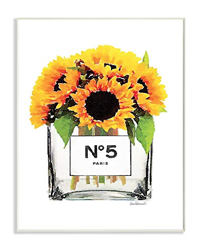 Bottle Vase Perfume (The Stupell Home Décor Collection Perfume Bottle Vase with Yellow Sunflowers Wall Plaque Art, Multi-Color)