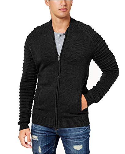 (American Rag Men's Moto Bomber Zip-Up Ribbed Sleeve Sweater (Deep Black, Large))