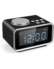 FM Digital Radio Wecker Radiowecker Uhrenradio mit LCD-Display Dual-Alarm Schlummerfunktion Temperatur und Dimmbare Helligkeit 2 USB-Ladeanschluss(2.1A+1.1A)-EINWEG