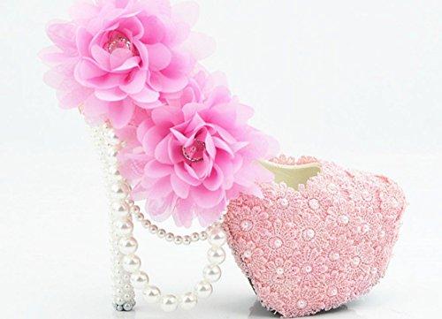 YCMDM Donne Hgh Tacchi rotondo di nozze singoli pattini pizzo rosa cipria fiori damigella d'onore Nightclub Shoes , 11 cm with high reservation , 39