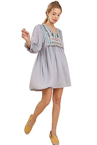 Umgee Women's Bohemian Tunic Dress (M, Silver -