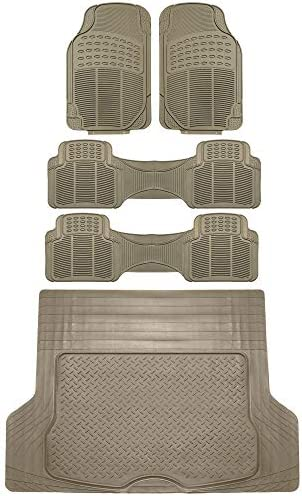 FH Group F11306 + F16400 3 Row Trimmable Vinyl Floor Mats (Beige) Full Set – Universal Fit for Cars Trucks and SUVs