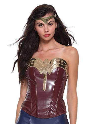 DC Comics Wonder Woman Faux Leather Cosplay Bustier Burgundy]()