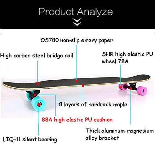 HYE-SPORT Longboard Dancing Skateboard 46 Inches Long X 9.8 Inch Wide Deck for Kids/Boys/Girls/Youth/Adults Tricks Skate Board by HYE-SPORT (Image #2)