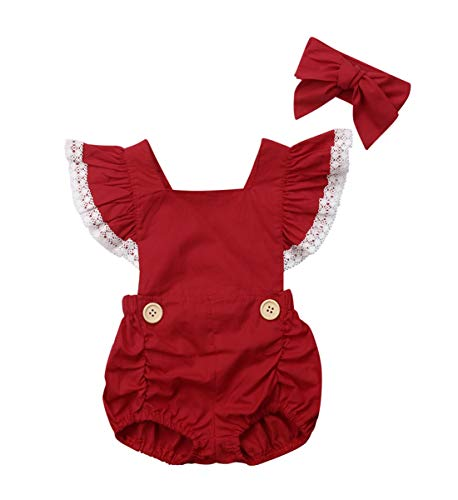 (Christmas Infant Baby Girl Ruffle Sleeve One Piece Bodysuit Romper Jumper with Cute Headband (Red, 12-18 Months))