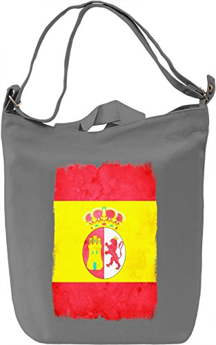 Spain Flag Borsa Giornaliera Canvas Canvas Day Bag| 100% Premium Cotton Canvas| DTG Printing|