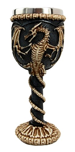Bellaa 22487 Medieval Dragon Skeleton Ossuary Goblet Wine Chalice Resin Body Stainless Steel