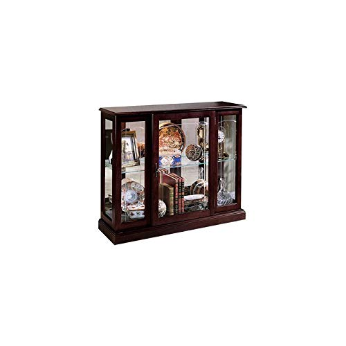 Home Fare Ridgewood Cherry Mirrored Curio Console